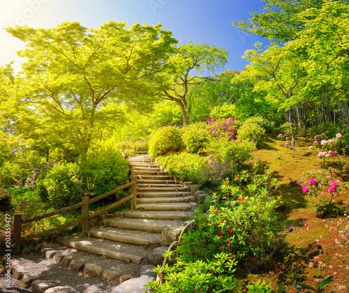 Plexiglas Kyoto Garden near Tenryu-ji Temple in Kyoto, Japan. Beautiful park in Arashiyama in spring