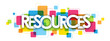 RESOURCES colourful letters banner