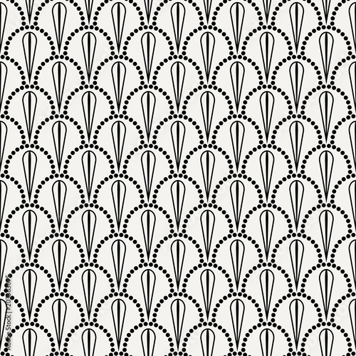 Vector abstract seamless wavy pattern with dotted geometrical fish scale layout with flowers