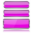 Violet glass buttons. Rectangle 3d icons with chrome frame