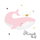 Sweet whale princess with crown and lettering. Fashion kids print. Vector hand drawn illustration. - 203368694