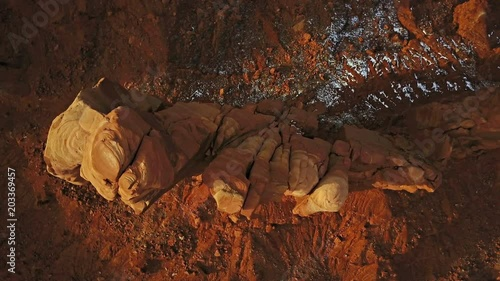 Aerial footage of an amazing butte near the border of Utah and Arizona.