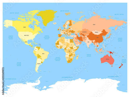 Fototapeta World map with names of sovereign countries and larger dependent territories. Simplified vector map in four colors on blue background.