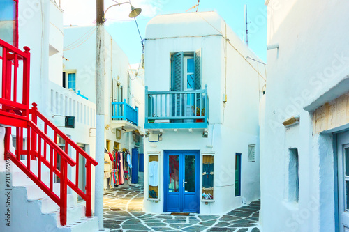 Fototapeta Snow white houses in Mykonos