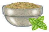 Glass bowl with dry oregano leaves and fresh oregano. Vector illustration. - 203370652