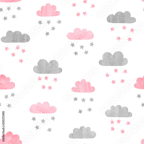 Seamless watercolor clouds and stars pattern. Vector illustration.