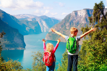happy little boy and girl travel in nature, family hiking