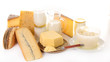 assorted dairy product on white background