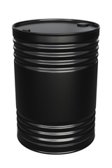 3D render of the black oil or petrol barrel isolated on white
