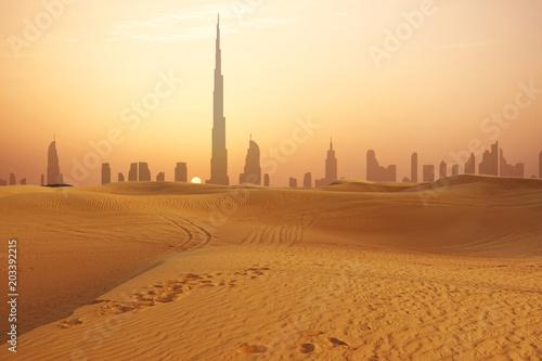fototapeta na ścianę Dubai city skyline at sunset seen from the desert