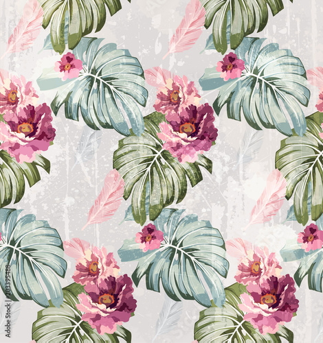 Summer watercolor flowers Vector. Vintage roses backgrounds - 203395488