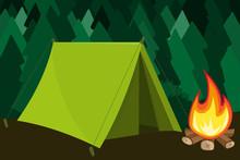 Zelt Im Wald Mit Feuer Sticker