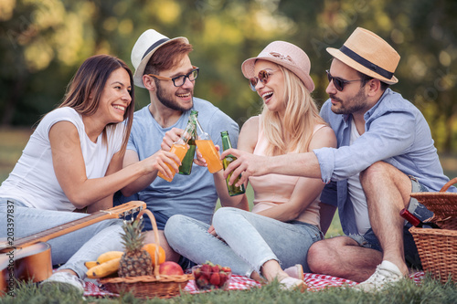 Fototapeta Happy young friends having picnic in the country