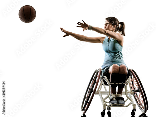 Fotobehang Basketbal one caucasian young handicapped basket ball player woman in wheelchair sport tudio in silhouette isolated on white background