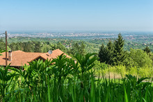 "Постер, картина, фотообои ""View of the panorama of Novi Sad from the mountain of Fruska Gora"""