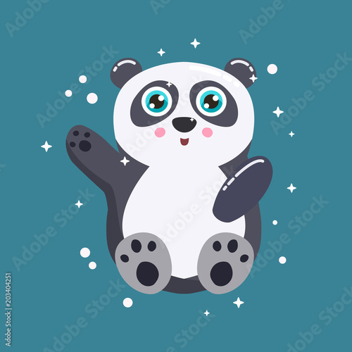 Fototapeta Cute panda bear vector illustration. Flat design.