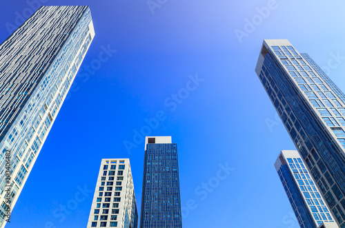 Fototapeta SEOUL KOREA-March 6 2015 Perspective view highlight buildings in a civilized City of Asia in sunny day evening with bluesky background