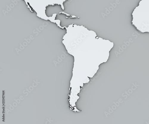Cartina del sud america, bianca, cartina geografica. Cartografia, atlante geografico