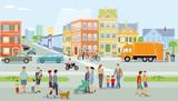 Stadt mit Fußgänger und Verkehr, Illustration - 203420848