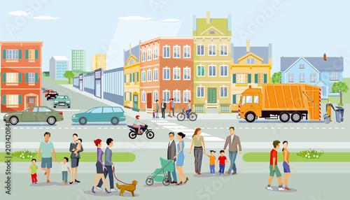 Stadt mit Fußgänger und Verkehr, Illustration © scusi