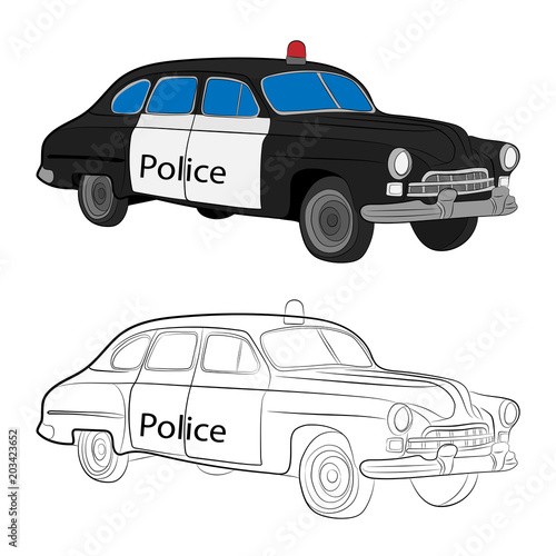 Fotobehang Auto retro police car vector drawing illustration