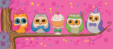A  Funny Owls  Cake In The Forest  Illustration Sticker