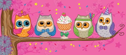 A set of funny owls with cake in the forest. Vector illustration.