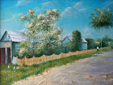 Painting. Rural landscape. Oil painting spring in the village.