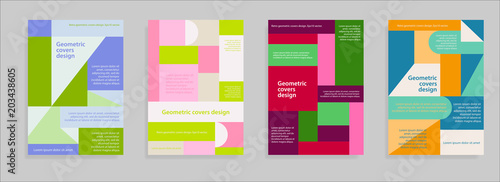Retro geometric covers color design. Eps 10 vector. © isstrip68
