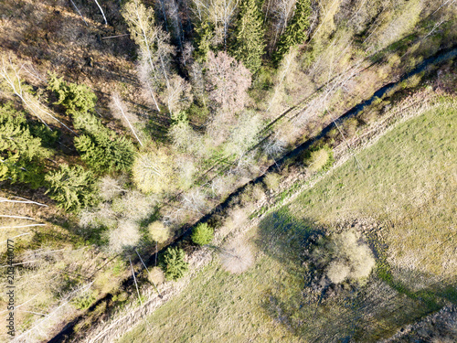 Aluminium Bergrivier drone image. aerial view of rural area with fields and forests