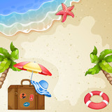 Summer elements with vintage suitcase,sea and trees. - 203442015