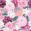 Seamless pattern with cute garden flowers. Flower background for textile, cover, wallpaper, gift packaging, printing.Romantic design for calico, silk. Pastel color.