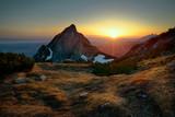 Sunrise at Giewont peak. Tatra mountain