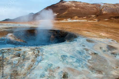 Fotobehang Blauwe hemel Namafjall, Iceland