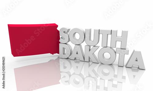 South Dakota SD Red State Map Word 3d Illustration