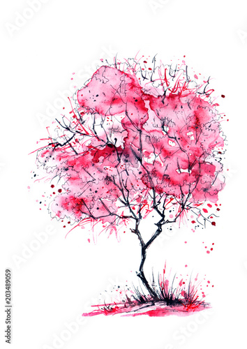 akwarela-rozowe-wisniowe-drzewo-kwiat-jabloni
