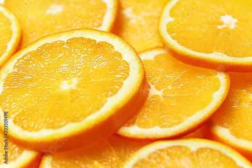 Świeży Pomarańczowy plasterka tło. Widok z góry.