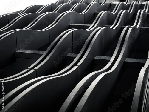 Architecture exterior Facade wave pattern Modern Building Abstract background © VTT Studio