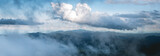Panorama Mountain View Fog and clouds in the rainy season