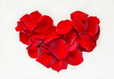 Red roses petals heart background flat lay text space, romantic card.