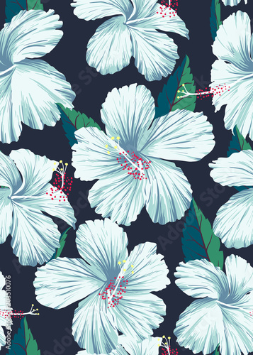 Hibiscus hand draw pattern © Summer Candy