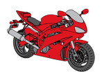 red sport motorcycle vector
