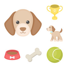 Pet Dog Cartoon Icons In Set  For Design Caring For The Puppy  Symbol Stock Web Illustration Sticker