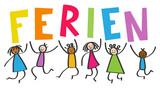 Multikulti Kinder springen hoch mit bunten Buchstaben FERIEN, Schulferien, Freude, Strichmännchen - 203527027