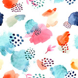 Watercolor seamless pattern, dot memphis fashion style, bright design repeating background. Hand painted modern brush shapes. - 203538423