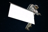 Astronaut with poster for design 3d rendering - 203538471