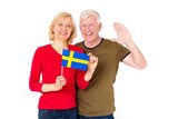 Swedish family. Adult couple, man and woman, middle-aged with the flag of Sweden on a white background. - 203543467