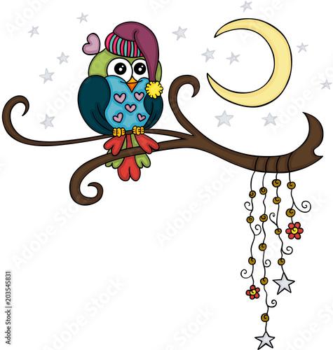 Fotobehang Uilen cartoon Lovely adorable owl on branch in night