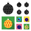 New Year Toys black, flat icons in set collection for design.Christmas balls for a treevector symbol stock web illustration.