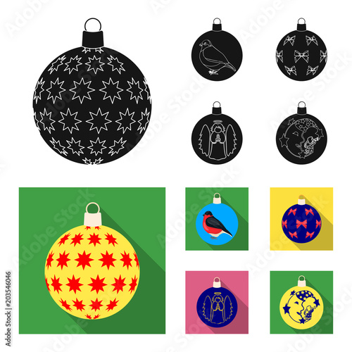 Plexiglas Abstractie New Year Toys black, flat icons in set collection for design.Christmas balls for a treevector symbol stock web illustration.